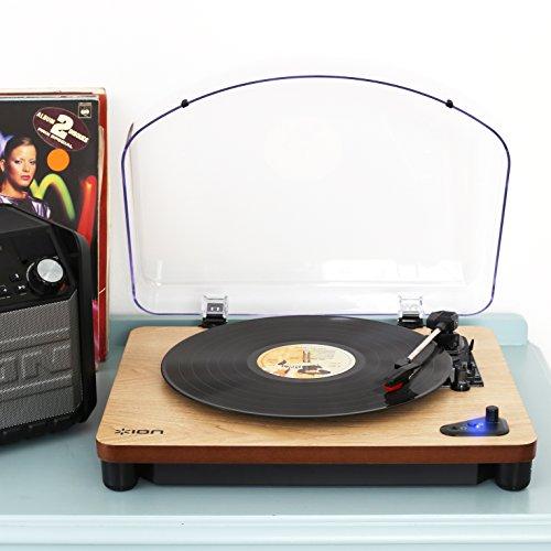 ION Audio Air LP Wood - Tocadiscos con streaming de audio por Bluetooth – reproduce y convierte discos de 33 1/3, 45 y 78 rpm