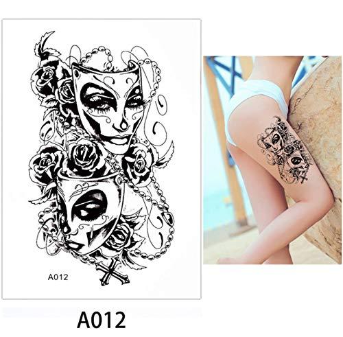 yyyDL Aquarell Schönheit Frauen Körper Make-up Tattoo Zurück Taille Kunst Aufkleber Lion Elephant Temporäre Tätowierung Aufkleber Papier 14,8 * 21 cm 4 stücke (Elephant Mann Kostüm)