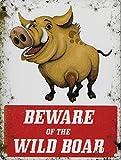 """Cartello """"Beware of the Wild Boar"""", placca a muro di avvertimento, in metallo, 15cm di lunghezza x 20cm di altezza, in metallo (lingua italiana non garantita)"""