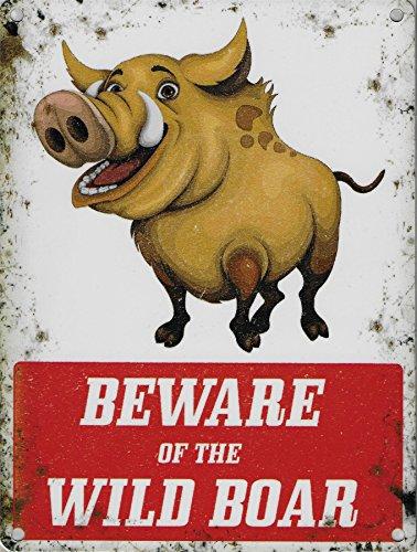 Beware of the Pancarte de sanglier 15 x 20 cm en métal avertissement plaque murale