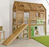 Hochbett Tom´s Hütte 1 Kinderbett Rutsche Spielbett Bett Natur Stoff Dschungel