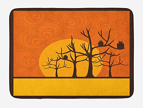 Halloween Bath Mat, Bats on Trees Spooky Holiday Composition with Moon and Warm Backdrop, Plush Bathroom Decor Mat with Non Slip Backing, 23.6 W X 15.7 W Inches, Orange Yellow Brown