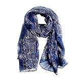 CS Priority Frauen-Schal, 160 70cm, in hochwertigem Porzellan-Stil, dünn, Seiden-Schal, verschiedene Farben erhältlich schwarz