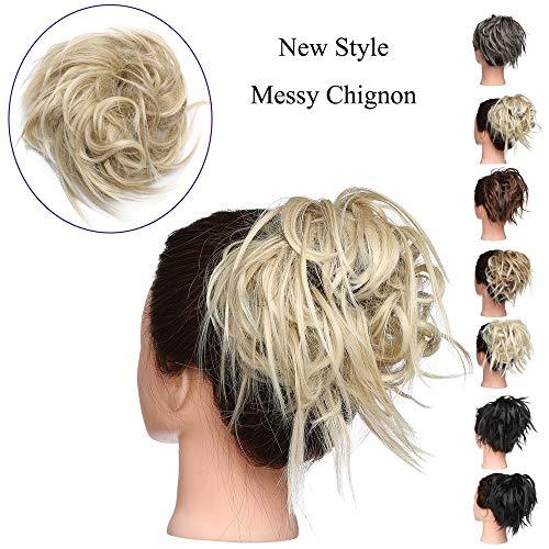 Extension chignon capelli finti messy hair bun elastico posticci ricci biondi updo ponytail extensions coda di cavallo 45g, biondo cenere mix biondo chiarissimo