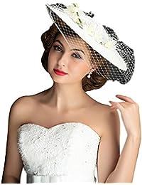 Icegrey Femmes Chapeau de Cérémonie Bibi Chapeau Voilette Mariage Béret Capeline Cheveux Femme Mariées