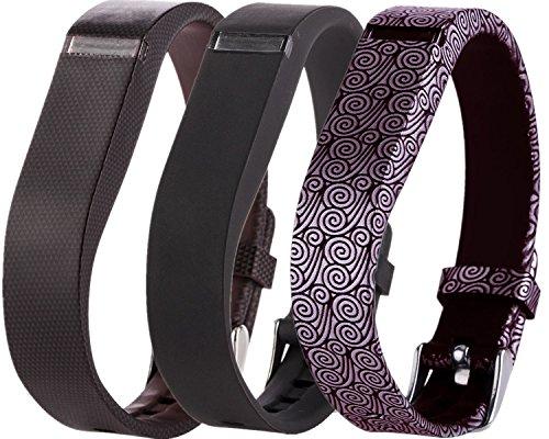 Großes Armband (Greatfine Ersatzarmband mit Chrom Uhr Schnalle, für Fitbit Flex Farbbänder, Zubehorband fur alle Grossen (Black Grid Yun 3pcs))