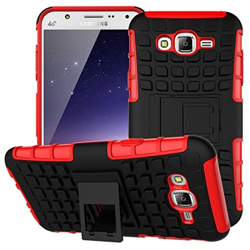 Chevron Kick Stand Spider Hard Dual Rugged Armor Hybrid Bumper Back Case Cover For Samsung Galaxy J7 (Red)