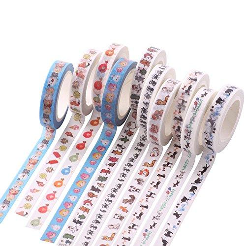 CAOLATOR Bunt Washi Klebeband Haftpapier Aufkleber Hübsche Karikatur Mehrfachmuster Masking Tape 10 Stücke
