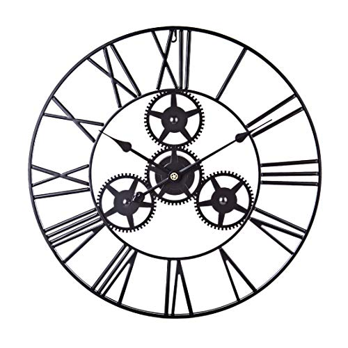 ZUJI 60CM Wanduhr Vintage Dekorativ Uhr Groß XXL Wanduhr Lautlos in Eisen