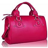 Ladies Medium Matt Soft Faux Leather Bowler Women Designer Stud Barrel Handbags