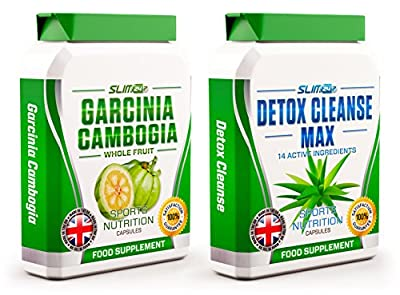 GARCINIA CAMBOGIA x60 + DETOX CLEANSE x60 - Garcinia Cambogia Whole Fruit Max Strength Fat Burner and Colon Cleanse Detox Capsules - Slimming Diet Pills | Suppress Appetite, Block Fat Production and Increase Energy for Weight Loss from Slim247