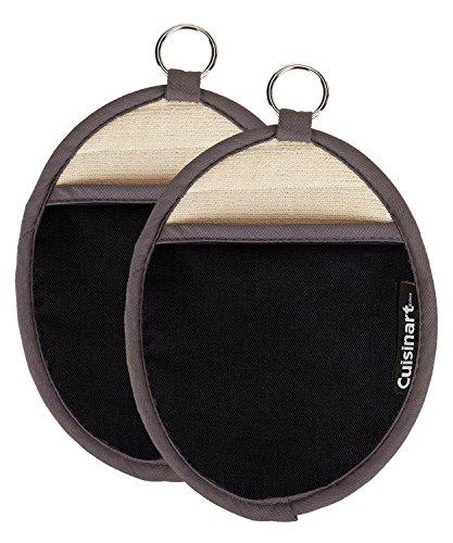 Cuisinart Oval Topflappen/Ofenhandschuh W/Pocket & hitzebeständig Rutschfeste Silikon Grip Black (2 Pack) - Topflappen