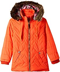 Fort Collins Girls Regular Fit Synthetic Jacket (10253_Orange_26 (6 - 7 years))