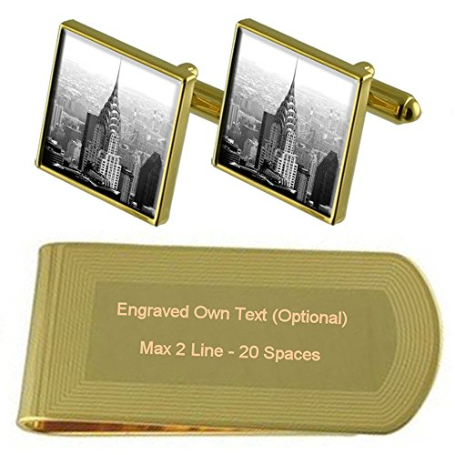 Select Gifts Chrysler Building New York Gold-Manschettenknöpfe Geldscheinklammer Gravur Geschenkset - Chrysler-geld-clip