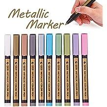 Rotuladores de pinturas de marcadores metálicos 10 colores marcadores de pintura de arte de punta fina