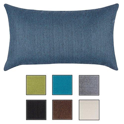 Salosan - cuscino da divano, cuscino da salotto, cuscino decorativo, con imbottitura anallergica, dimensioni: 40 cmx 70cm,in 7colori a tinta unita blue