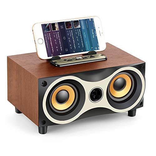 Tamproad Desktop Wireless Bluetooth Lautsprecher aus Holz mit HD Sound und Bass Unterstützung Handyhalter USB TF-Karte FM Radio Eule Form Lautsprecher Home Party Smartphone Computer PC