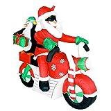 Weihnachtsmann und Pinguin auf Motorrad 150cm große Weihnachtsbeleuchtung selbstaufblasend