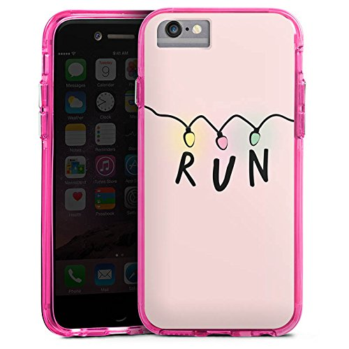 Apple iPhone 6 Plus Bumper Hülle Bumper Case Glitzer Hülle Run Serien Lichterkette Bumper Case transparent pink