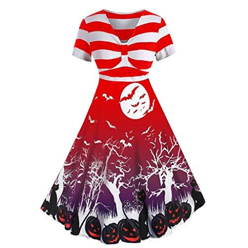 Seiltänzerin Kostüm Selber Machen - Damen Retro Halloween Kleid-Fledermaus Drucken,V-Ausschnitt 1950er