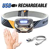 BYBLIGHT Rechargeable LED Headlamps, 200 Lumens Cree Led,Hand-free SENSOR Switching ON/OFF for Biking, Cycling, Climbing, Camping, Dog Walking, Hiking