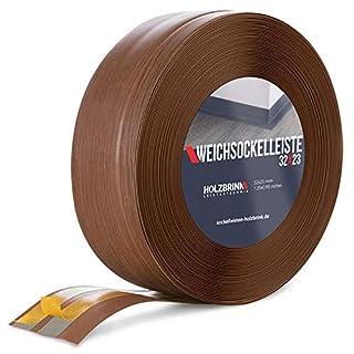 HOLZBRINK Skirting Board Soft Self Adhesive Dark Oak 32x23 mm 25 m PVC Flexible Baseboard Self- Stick Transition Profile Wall Caulk Strip