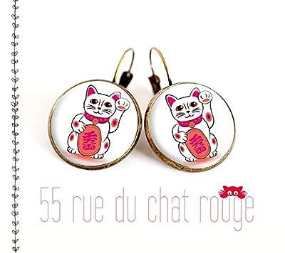 Boucles d'oreilles cabochon de verre 12/14/16/18/20 mm Maneki Neko chat, porte bonheur, chat chinois, chat japonnais, idée cadeau, dormeuse bronze