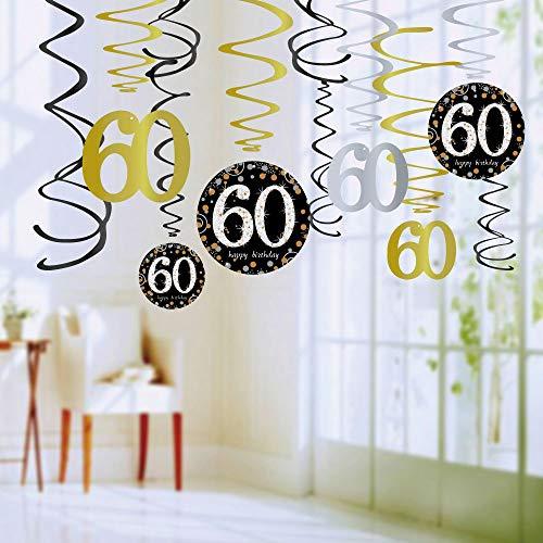 Queta 30/40/50/60. Geburtstag hängende Wirbel Dekorationsset Funkelnde Geburtstagsfeier Folien Wirbel Dekorationen 60 Years Old