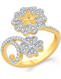 VK Jewels Beautiful Flower Gold And Rhodium Plated Alloy CZ American Diamond Adjustable Ring For Women [VKFR2785G]