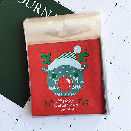 Eever decorazioni di buon ornamento da festeggiare sacchetto autoadesivo di natale sacchetto di caramelle alce confezione regalo regalo biscotto ca. 100pcs-red