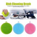 Fulltime 3PC Brosse à l'éponge à vaisselle pratique en silicone antibactérienne éponge vaisselle lavable éponge vaisselle naturelle éponge vaisselle réutilisable éponge vaisselle ronde