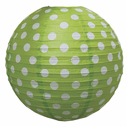LS-LebenStil LS-Design Lampenschirm Papierlampe Lampion Japanballon Grün Weiss Punkte 50cm