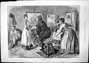 original old antique victorian print ein kunst kritiker alte frauen schemel junge frauen die. Black Bedroom Furniture Sets. Home Design Ideas