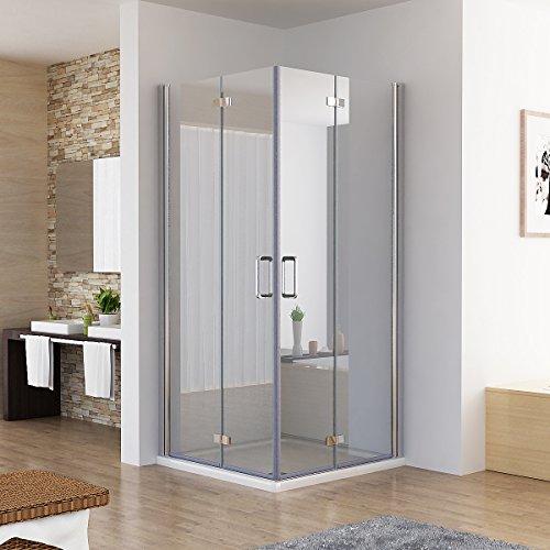 Duschkabine Eckeinstieg Dusche Falttür 180º Duschwand Duschabtrennung NANO Glas (80x80x197cm / ohne Duschtasse)