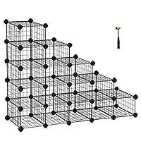 SONGMICS Shoe Rack, 16 Cubes Modular DIY Storage Unit, 22 x 35 x 17 cm per Cube, Metal Wire Interlocking Wardrobe Organiser, for Entryway Closet, Clothes Shelving Includes Rubber Mallet LPI44HS/WS