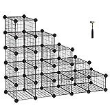 SONGMICS DIY Schuhregal, 15 16 Würfel Metalldraht Aufbewahrungssystem, modularer Steckregal, ineinandergreifender Schuhorganizer, inkl. Gummihammer und Kippschutz, Schwarz LPI44HS