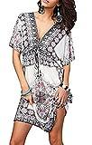 Jastore®Floral tief V-Ausschnitt Boho Damen Strandponcho Sommer Kleid Überwurf Kaftan Strandkleid Bikini Tunika Cover Up (Blau) (L, Weiß)