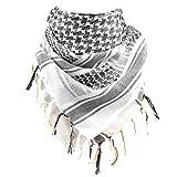 FREE SOLDIER Gesichtsschal/Kopftuch Shemagh Taktischer Schal Arabischer Baumwoll Wüsten Kopf Schal für Outdoor-Sport Camping Wandern Für Männer & Frauen, Weiß, 110 * 110cm