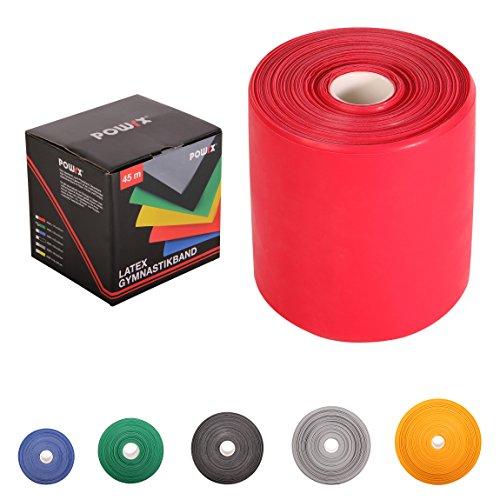 POWRX Fitnessbänder Rollen Widerstandsvarianten | 45 m Latex-Band für Yoga, Pilates, Reha-Sport Physio-Gymnastik - Für Männer & Frauen (Rot)