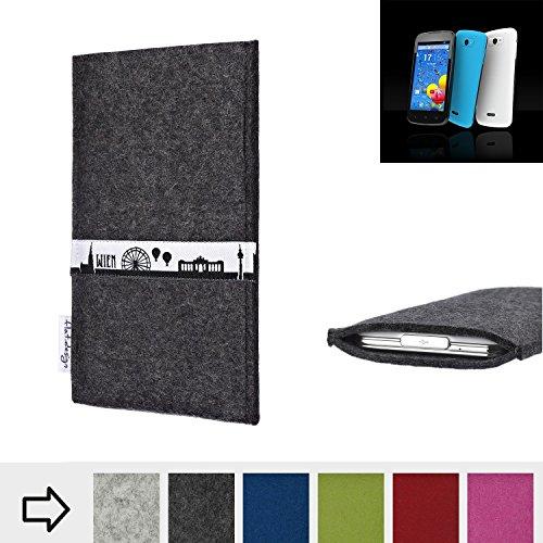 flat.design für MobiWire Auriga+ Schutztasche Handy Hülle Skyline mit Webband Wien - Maßanfertigung der Schutzhülle Handy Tasche aus 100% Wollfilz (anthrazit) für MobiWire Auriga+
