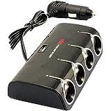 niceeshop(TM) 4 Socket Allume-cigare Adaptateur Secteur DC Outlet Splitter Double Port USB Chargeur de Voiture pour Téléphones Portables Ordinateurs Tablettes IPads, Noir et Rouge
