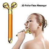 Masaje facial Beauty Bar 3D Roller Heidan Stone Masajeador 24K Gold Plated Head piel impermeable Tratamiento de arrugas