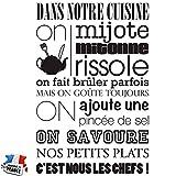 Sticker Dans notre cuisine - Taille 54x81 cm - couleur noire - Sticker murale pour cuisine Beestick - Fabriqué en France