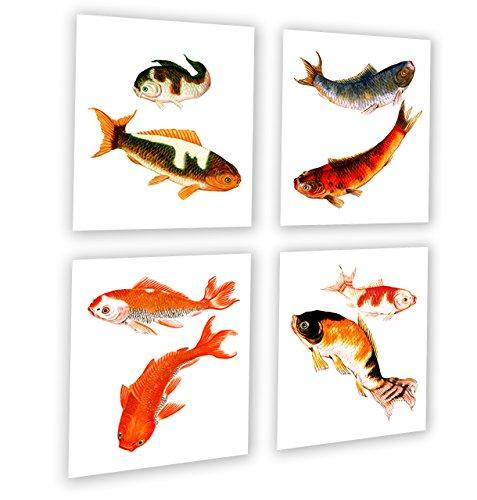 Gnosis Picture Archive Koi Fisch Decor Zen Decor Set von 420,3x 25,4cm Prints gerahmt Asiatische Kunst für die Wand (Koi Fisch-wand-kunst)
