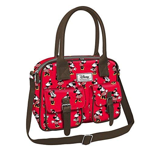 Disney minnie cheerful - borsa orizzontale con tracolla e doppio manico - colore rosso