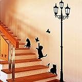 Romote Black Cat et Réverbère Wall Sticker Mural Sticker Salon Chambre Chambre...