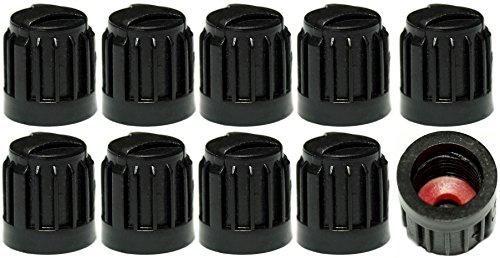 PRESKIN 10 er Set Premium Auto Sicherheits-Ventilkappen Secure Schwarz Valve Caps für Auto, Motorrad und Fahrrad – Bessere Dichtheit