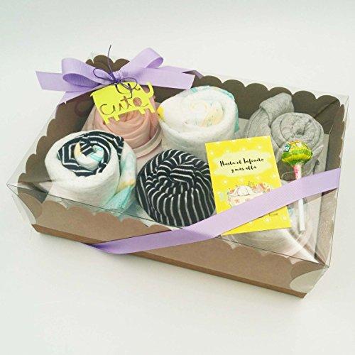 Regalo Molto Utile e Originale per Neonati | Set di 6 Cupcakes fatti con: 1 BODY, 1 CAPPELLINO, 2 paia di CALZINI e 1 SALVIETTINA riutilizzabile in Bambú | Tutto è di Marca, di Taglia 1-6 mesi | Materiali: Cotone e Bambú | Versione UNISEX, Ideale per Femminucce e per Maschietti