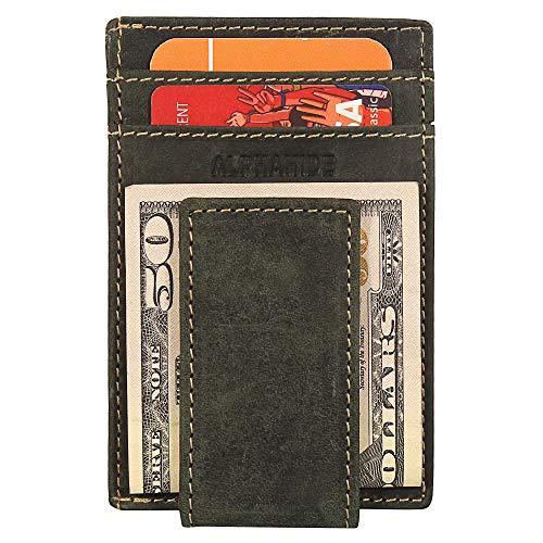 ALPHAHIDE Slim Credit Card Sleeve - Echtleder - Vordertasche - Geldklammer - RFID - Grün - Klein