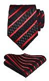 Hisdern Extra lange Polka Dots Krawatte Taschentuch Herren Krawatte & Einstecktuch Set Rot schwarz
